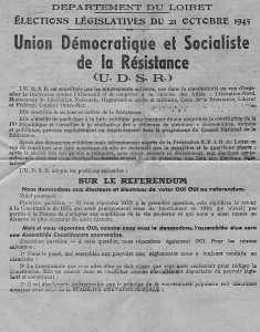 election loiret 21 octobre 1945 UDSR